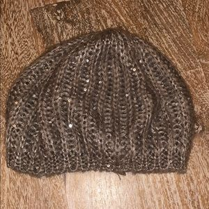 Vintage Gray silver sequin sweater warm winter hat